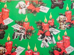 Vintage Christmas Wrapping Paper Holiday Puppies