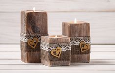 Rustic Wedding Centerpiece Ceremony Candles Wood Candle Holders Set of Three Burlap and Lace Wedding Decor Table Top Accessory Wooden Candle Holders, Candle Holder Set, Candle Set, Tea Light Holder, Rustic Candles, Rustic Wedding Centerpieces, Diy Candles, Wedding Decor, Lace Wedding