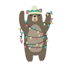 Brown Bear with Christmas Lights ~ Machine Embroidery Design in 2 sizes - Instant Download by TedandFriends on Etsy