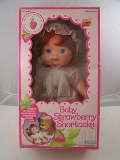 Strawberry Shortcake, squeeze her tummy and she blows you a strawberry scented kiss.  Awwww, I had one of these!! So miss her!!