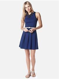 Box-Pleat Ponte Dress - Banana Republic
