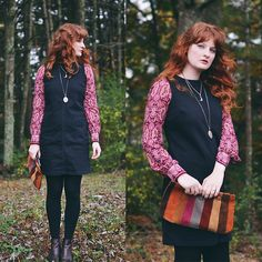 Get this look: http://lb.nu/look/8889089  More looks by Anna C.: http://lb.nu/flyingclubhouse  Items in this look:  70s Suede Clutch, Boden Shift Dress   #bohemian #retro #vintage #bodendress #shiftdress #falllook #autumnlook #paisley