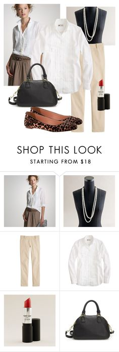"""""""Tuxedo Shirt + Pearls"""" by patsystoned ❤ liked on Polyvore featuring J.Crew, women's clothing, women, female, woman, misses and juniors"""