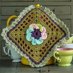 Waterlily Crochet Potholder Aqua n Pink w a shot of by babahepziba, $15.00