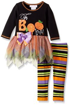 1728957f2180e Bonnie Baby Baby Girls Halloween Knit Appliqued Legging Set Black 69 Months  ** You could