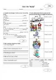 English worksheet: Test ´´My life´´