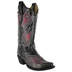 Corral Women's Tooled Patch Snip Toe Western Boots