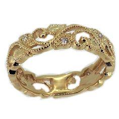 14k Yellow Gold Amazing Vine Diamond Stackable Band Ring #stackablering #diamond #diamondring #ring #filigree #antiquestyle #generousgems @generousgems #beatuiful #love