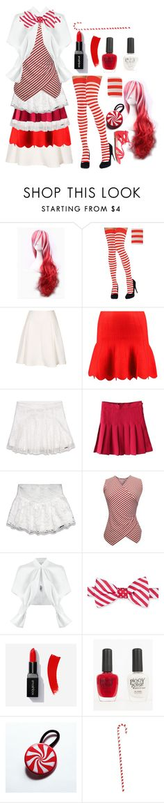 """""""Peppermint"""" by chaotic-leppy-tracy ❤ liked on Polyvore featuring Boohoo, Abercrombie & Fitch, Gloria Coelho, Saddlebred, Piggy Polish, peppermint and candycanes"""