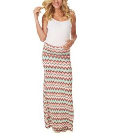 Coral & Beige Zigzag Mid-Belly Maternity Maxi Skirt