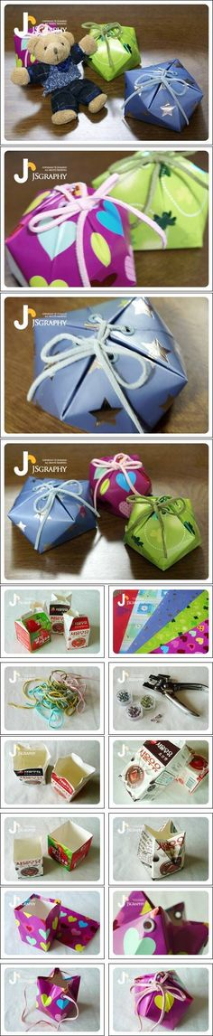 How to make pretty Milk Carton Gift Boxes step by step DIY tutorial instructions / How To Instructions