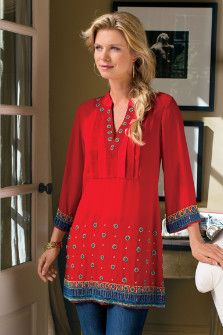 Label Noir Casablanca Tunic - Red Tunic Top, Heavy Tunic,Save Up to on Sale items at Soft Surroundings. Indian Fashion, Boho Fashion, Fashion Outfits, Womens Fashion, Red Tunic, Tunic Tops, Mode Hippie, Casual Chique, Lace Tops