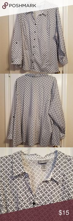 Catherines Button Down shirt Excellent Used Condition -  Catherines Button Down shirt .  Long sleeve.  Can be rolled up as shown in pictures.  Also has a dot pattern if sleeve cuff is rolled up.  Very cute and nice.  Smoke-free and pet-free home. Catherines Tops Button Down Shirts
