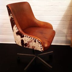 Cow Hide and leather office chair from Holly Hudson Furniture Hudson Furniture, Cow Hide, Furniture Design, Chair, Leather, Home Decor, Stool, Interior Design, Home Interior Design