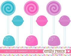 50% Off Sale - Lollipops Gumdrops Sweet Sugar Candy Cute Clip Art - Commercial Use - Scrapbooking Invitations Cards - Instant Download on Etsy, $1.50