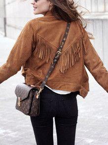Brown Tassel Biker Jacket with Lapel Casual Jacket