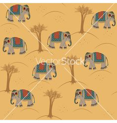 Indian pattern with elephant vector on VectorStock®