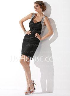 Sheath V-neck Short/Mini Chiffon Cocktail Dress With Ruffle Beading Sequins (016020949) - JJsHouse