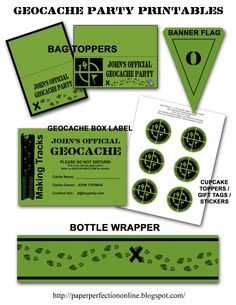 Geocache Party Printables, not free. (Anndi note: maybe not to this extreme but subtle hints throughout the reception.)