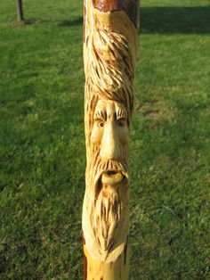wood spirit, old man of the mountain, cane carving