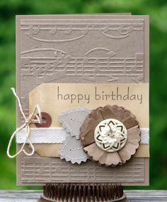 embossed musical notes on kraft paper .with natural colored paper flower set on a tag. Homemade Birthday Cards, Happy Birthday Cards, Homemade Cards, Scrapbooking, Scrapbook Cards, Cool Cards, Diy Cards, Musical Cards, Doodles
