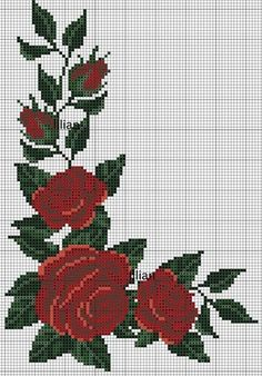 55 Flores Gráficos in Ponto Cruz – Grátis para Baixar Cross Stitching, Cross Stitch Embroidery, Embroidery Patterns, Hand Embroidery, Cross Stitch Rose, Cross Stitch Flowers, Cross Stitch Designs, Cross Stitch Patterns, Upcycled Crafts