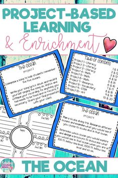 These ocean themed project-based learning and enrichment projects put ownerhsip of learning into your student's hands and enrich your students through independent work study. Engage your classroom during your ocean unit with these ten printables that have students using higher-level thinking in Literacy, Math, STEM, Art and Research. #project-basedlearning #projectbasedlearning #enrichment #ocean #oceanunit #oceanmath #oceanliteracy #oceanstem