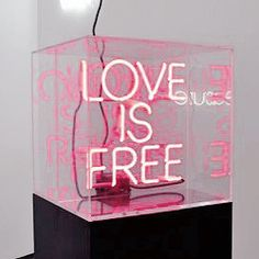 Kristin McIver Love is Free Neon and acrylic 40 x 40 x Light Art, Neon Rosa, Neon Words, All Of The Lights, Neon Aesthetic, Neon Glow, Light Installation, Love Is Free, Neon Lighting