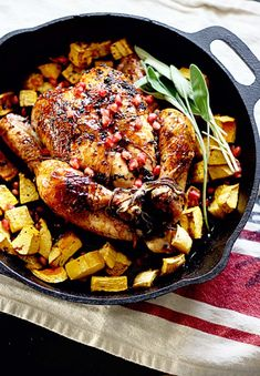 Sage and Garlic Roasted Chicken with Pomegranate Black Pepper Glaze by insockmonkeyslippers: Seriously, good and perfect for entertaining or any meal.  #Chicken #Sage #Garlic #Squash #Pomegranate #Potatoes
