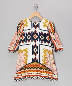 Look what I found on #zulily! Orange Tribal Swing Dress - Toddler & Girls by Yo Baby #zulilyfinds