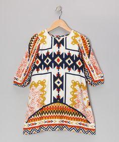 Another great find on #zulily! Orange Tribal Swing Dress - Toddler & Girls #zulilyfinds