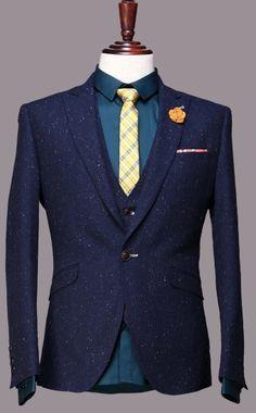 Classic Tweed custom made men slim fit suit <font><b>Blazers</b></font> Retro gentleman style tailor made wedding suits for men 3 Piece
