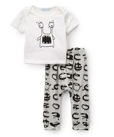 Love this White & Gray Monster Eyes Tee & Pants - Toddler & Kids by Just Couture on #zulily! #zulilyfinds