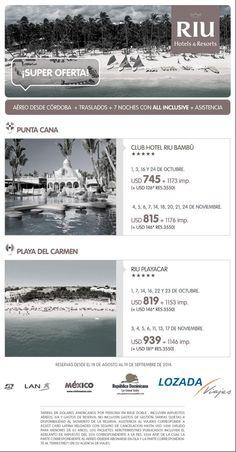 Mira esta promo que tenemos para #PuntaCana y #PlayadelCarmen!! para viajar entre Octubre y Noviembre!!  Consultanos en Av Colon 556 o 0351- 4230903 f t: lozadalovesyou