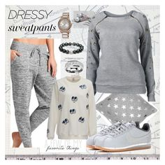 """""""Divinely Cute & Comfy Gray"""" by aurorasblueheaven ❤ liked on Polyvore featuring Athleta, Venus, August Steiner and NIKE"""