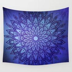 Dark Mandala on Indigo Blue Textured Background Wall Tapestry by Kelly Dietrich