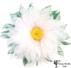 White Daisy Wreath, Deco Mesh Daisy Wreath, Large Daisy Wreath, Summer Wreath, Door Wreath, Everyday Wreath, Flower Wreath by FancyWreathLady on Etsy