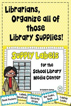 Libraries keep unique supplies.  Label them with this set of 93 labels plus editable blanks.  $