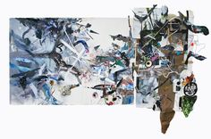 Clara Varas - Mudwater, 2014 mixed media, cardboard, masking tape on paper and mixed media collage mounted on wood