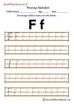 alphabet letters to trace F f