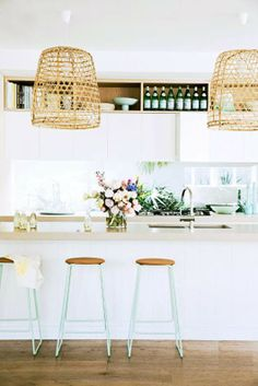 basket pendant could offer transition from kitchen colors and textures to dining ones