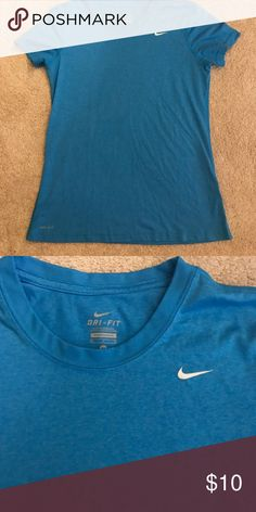 Nike blue dri-fit top. Size M! Great condition. Size Medium. Worn a few times. Very comfy. Nike Tops Tees - Short Sleeve