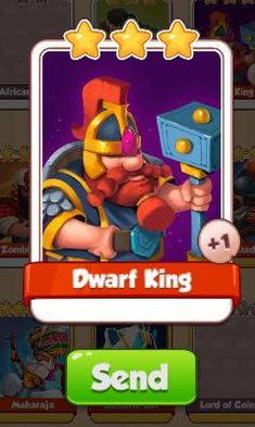 Dwarf King Card - Heroes Set - from Coin Master Cards - Tassie Books Game Cards, Card Games, King Card, Electronic Cards, Sale Purchase, Dwarf, Online Games, Physics, Coins