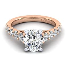 14k Rose Gold Oval Straight Diamond ENGAGEMENT RING