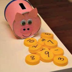 piggy bank craft with coins to count Farm Animal Crafts, Farm Crafts, Daycare Crafts, Toddler Crafts, Preschool Crafts, Farm Animals, Preschool Farm, Farm Activities, Animal Activities