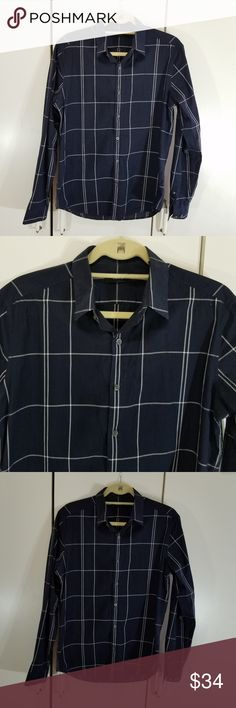 Theory men size M plaid button down shirt in good condition color dark blue and white stripes  no trades Theory Shirts Casual Button Down Shirts