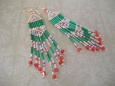 SALE TODAY ONLY  Christmas Seed Bead Earrings  Long by WorkofHeart