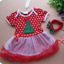 Polka Dots Kids Dresses For Girls Red Christmas Dress Baby Headband Fantasia Infantil Vestido Toddler Girl Christmas Outfits(China (Mainland))