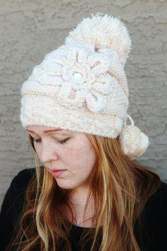 Knit Sequin Flower Beanie Hat - Modest Fashions