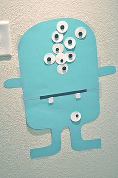 Pin the eye on the monster!  Too cute!   Go away big green monster program